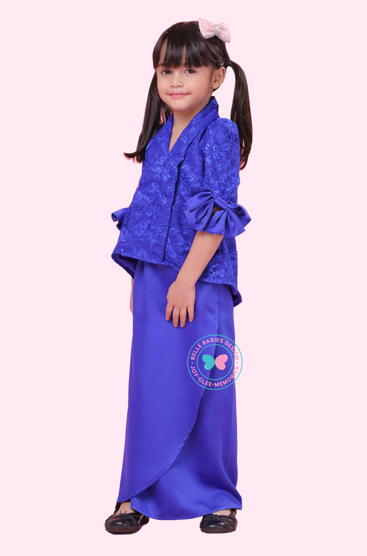 BBD Short Top Kebaya (Lace) - Royal Blue