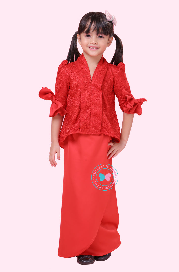 BBD Short Top Kebaya (Lace) - Red