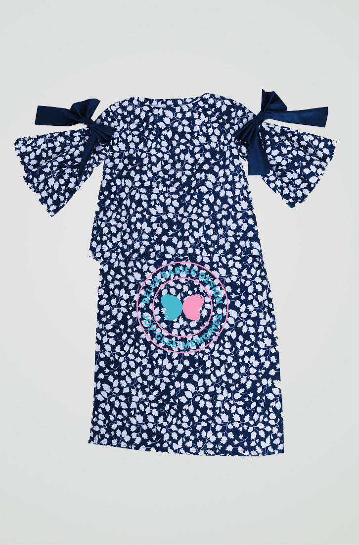 Pleats & Bow Modern Kurung (Midnight Blue - Leaf)