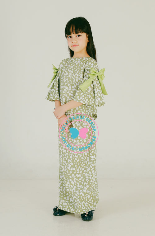 Pleats & Bow Modern Kurung (Pistachio Green - Leaf)