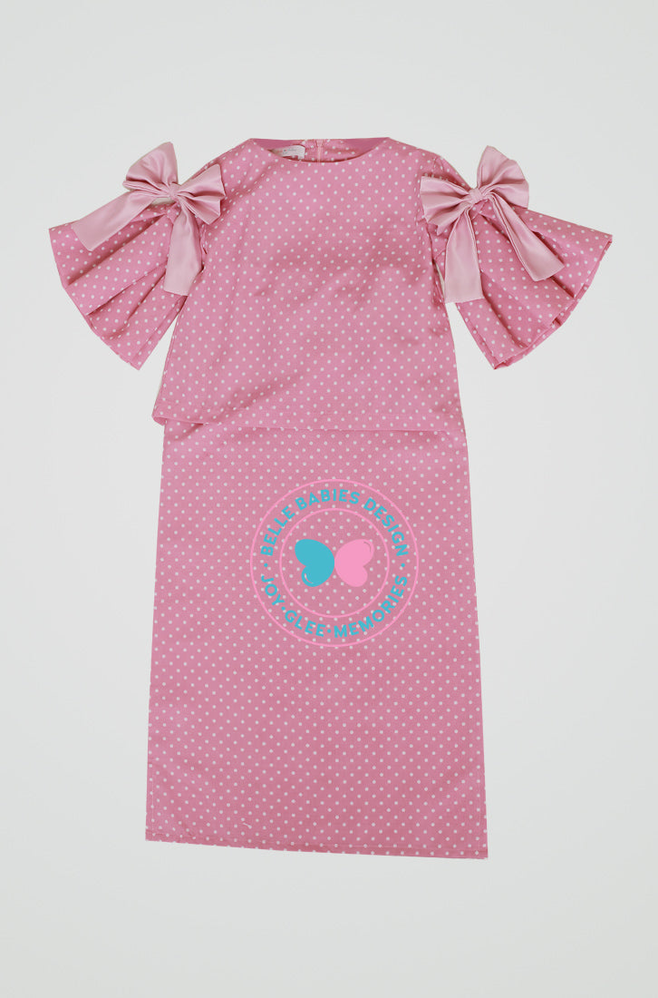 Pleats & Bow Modern Kurung (Pink Polka)