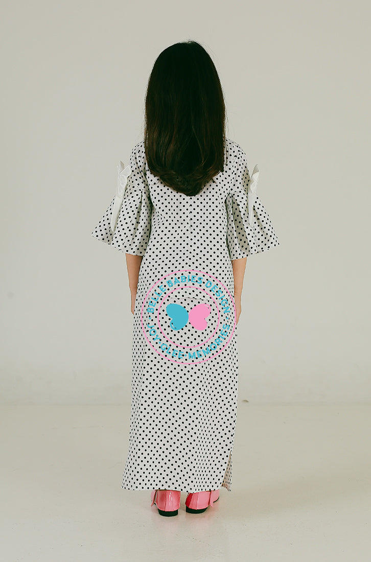 Pleats & Bow Modern Kurung (White polka)