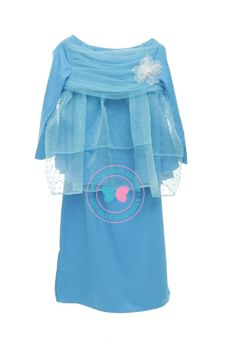 BBD Tiered Doll Dot Kurung - Aqua Blue