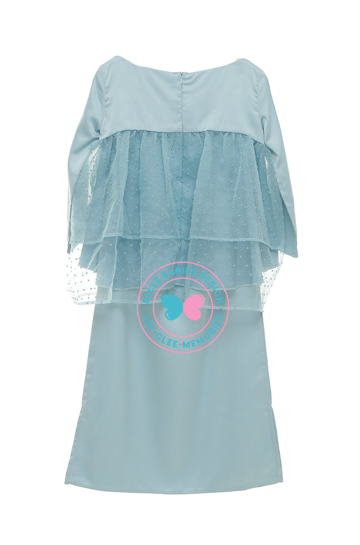 PRE-ORDER: BBD Tiered Doll Dot Kurung - Dusty Teal