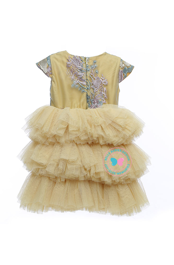 BBD (Luxe)  3-Tiered Tutu Dress - Light Gold
