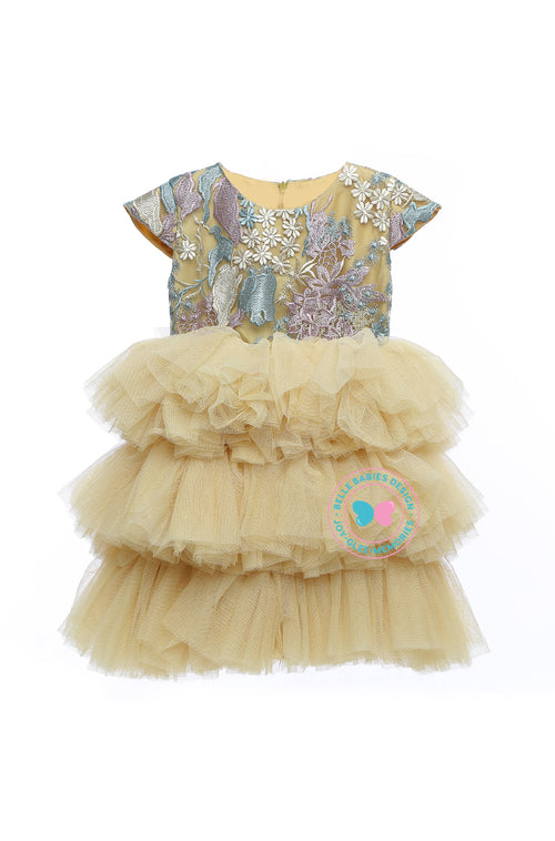 (PREORDER) BBD (Luxe)  3-Tiered Tutu Dress - Light Gold