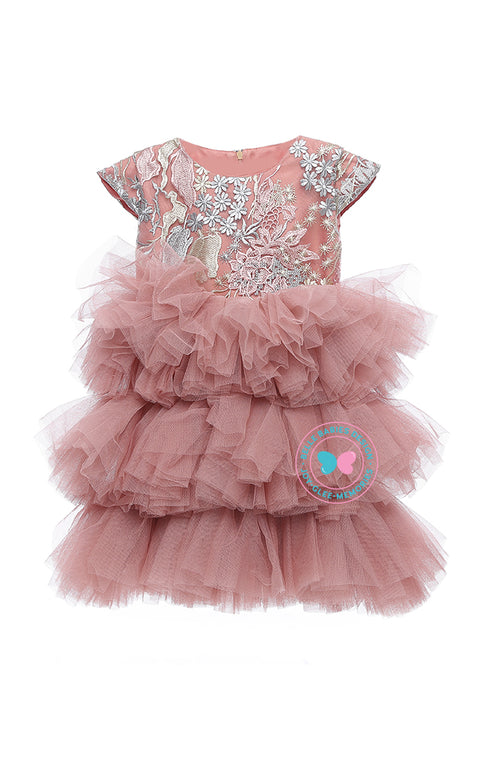 (PREORDER) BBD (Luxe)  3-Tiered Tutu Dress - Dusty Salmon