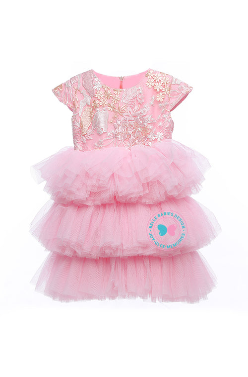 (PREORDER) BBD (Luxe)  3-Tiered Tutu Dress - Baby Pink