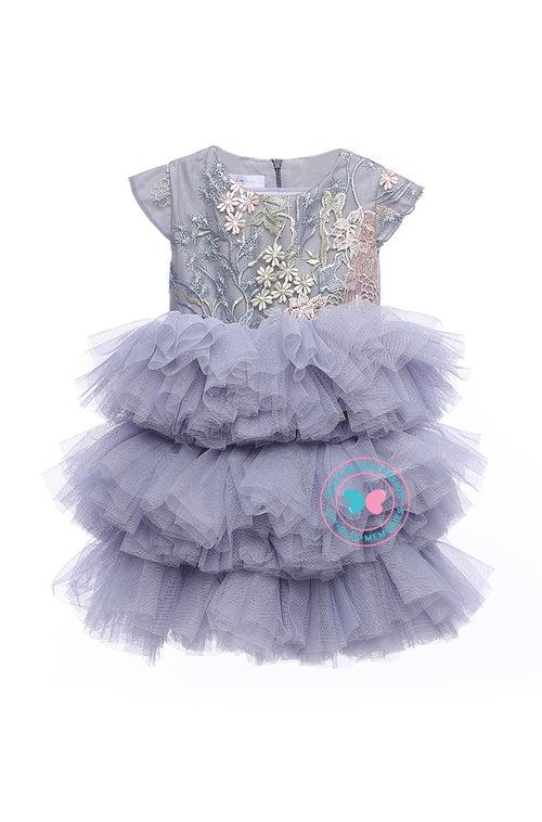 (PREORDER) BBD (Luxe)  3-Tiered Tutu Dress - Lilac Grey