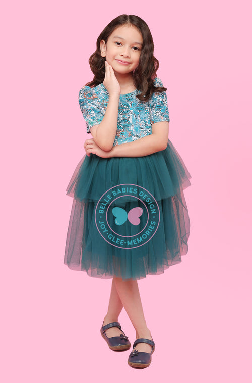 (NEW) BBD 2-Tiered Tutu (with sleeve) - Dark Teal