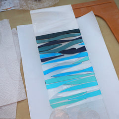 Fused glass art panel - seascape - waves