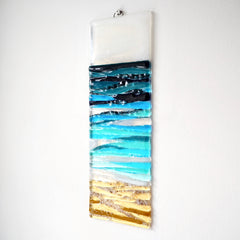 Fused glass seascape wall art panel