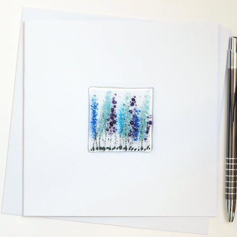 Tall blue flowers greetings card