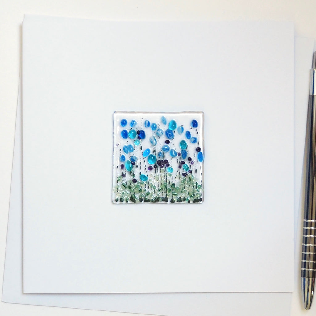 Blue cornflowers glass greetings card
