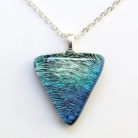 Smoky blue dichroic glass pendant