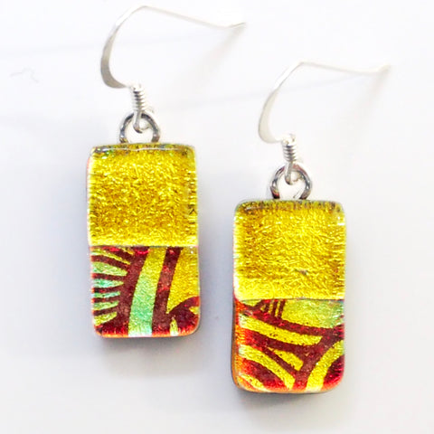 Yellow and orange graphic fused dichroic glass earrings
