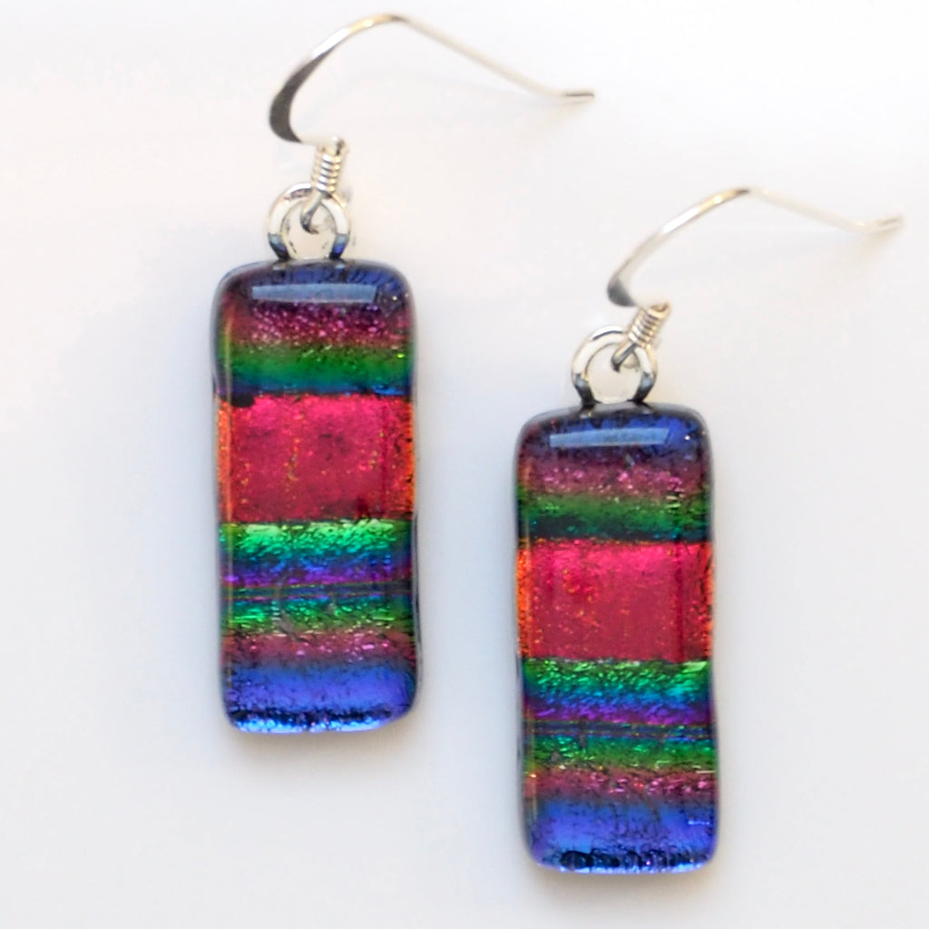 Red, green and purple stripes fused dichroic glass earrings