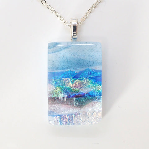 Beach scene dichroic glass pendant