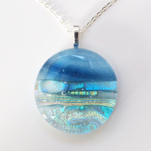 Seascape fused dichroic glass necklace