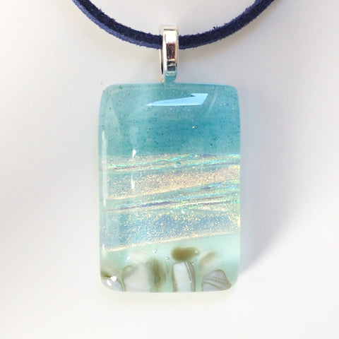 Beach fused glass pendant