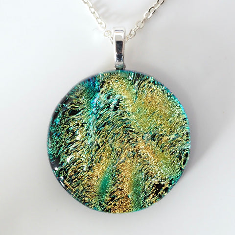 Aqua gold fused dichroic glass pendant
