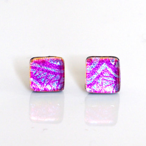 Pink graphic dichroic glass stud earrings