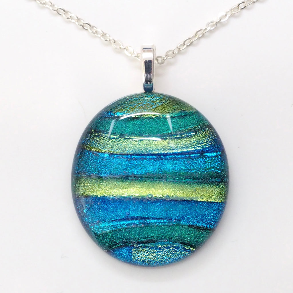 Blue green oval fused dichroic glass necklace