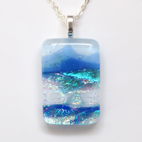Sea and mountains fused dichroic glass pendant