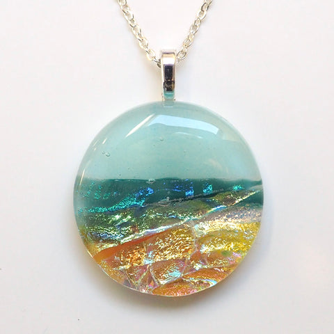 Beach fused dichroic glass necklace