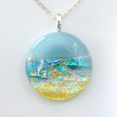 Beach scene glass pendant necklace
