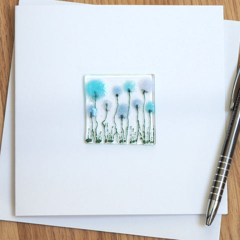 Blue allium glass greetings card