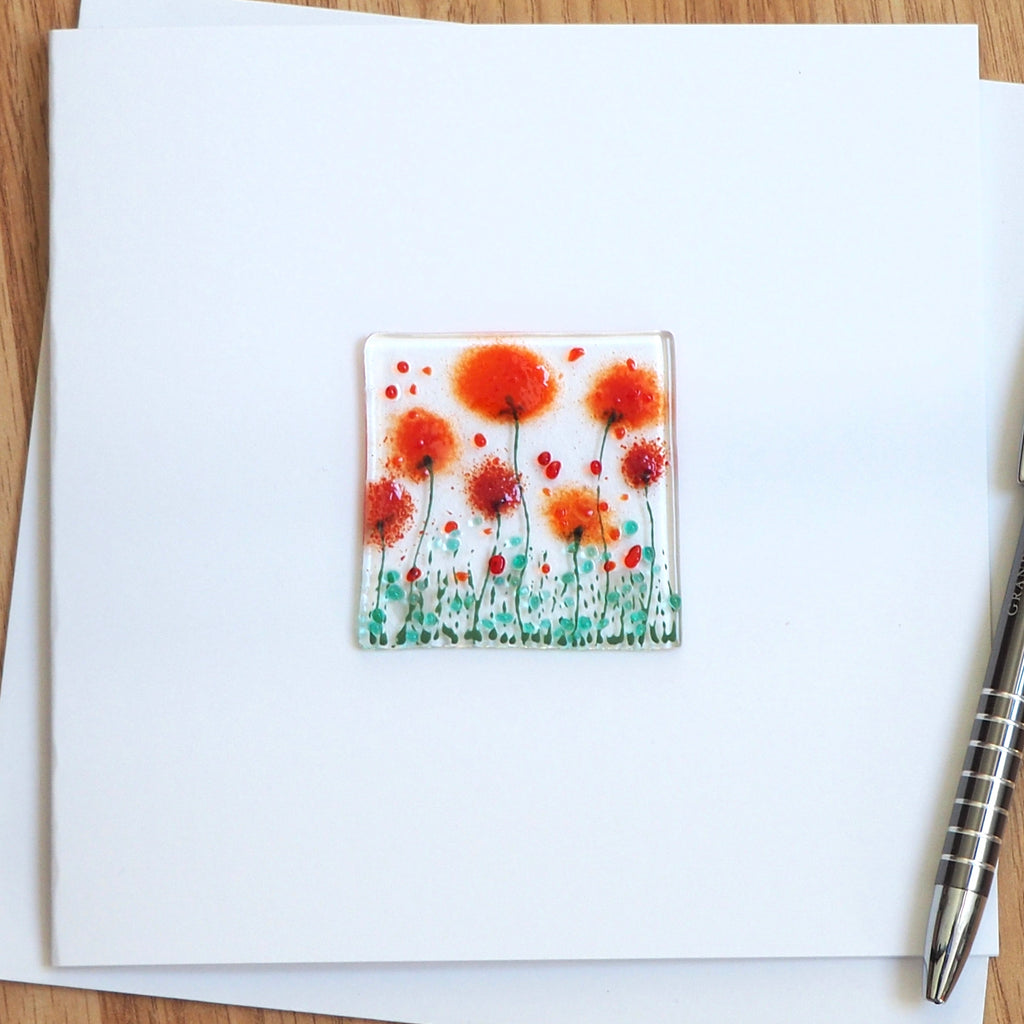 Red poppy glass greetings card