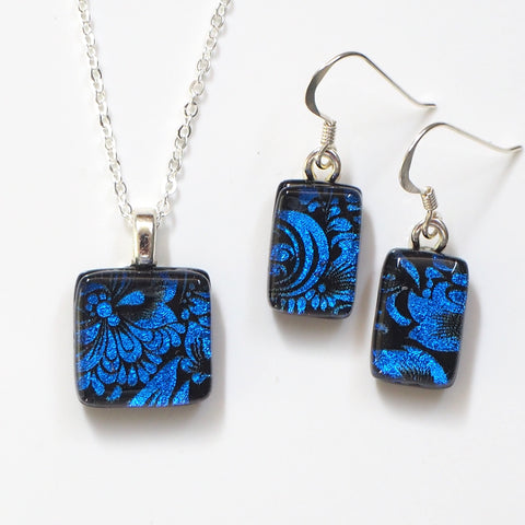 Blue fused dichroic glass pendant and earrings jewellery set