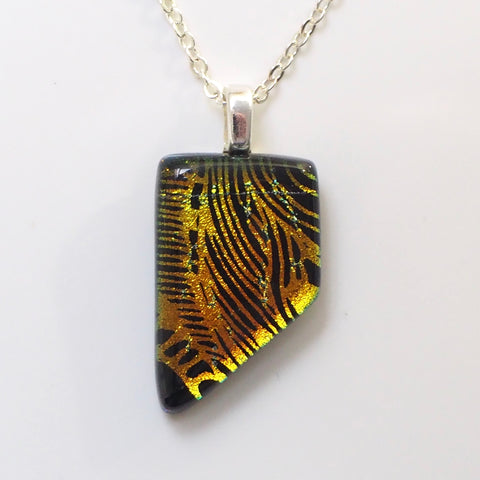 Orange etched dichroic glass pendant necklace