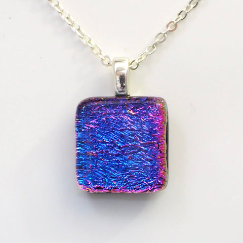 Blue pink square dichroic glass pendant
