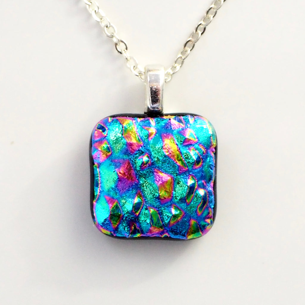 Rainbow mosaic fused dichroic glass pendant