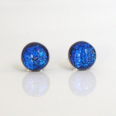 Blue dichroic glass stud earrings