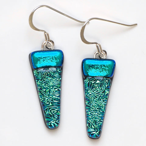 Turquoise fused glass earrings
