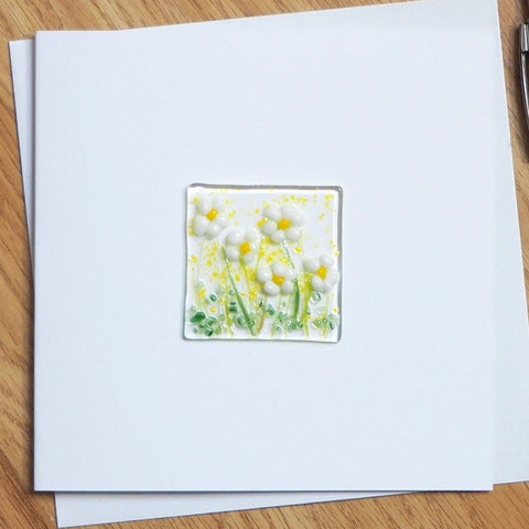 White daisy flowers glass greetings card