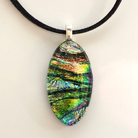 Silver blue green orange fused dichroic glass oval pendant necklace