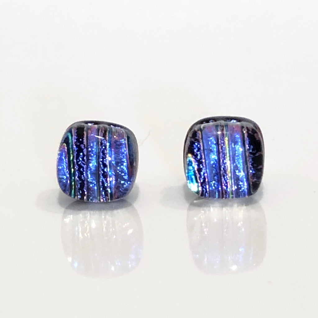 Blue purple stripes dichroic glass stud earrings