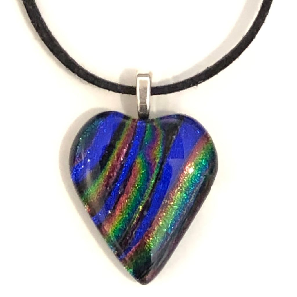 Dichroic glass heart pendant - royal blue pink emerald