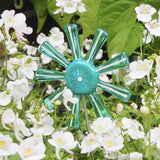 Aqua Blue, Green And White Flower Stake