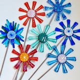 Blue and white flower stake - Fired Creations