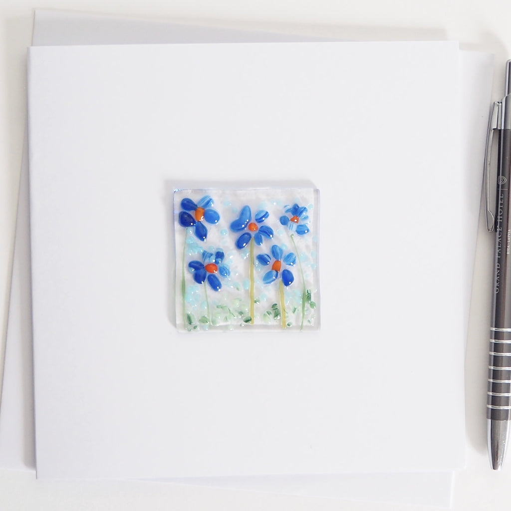 Blue Daisy Flowers Glass Greetings Card