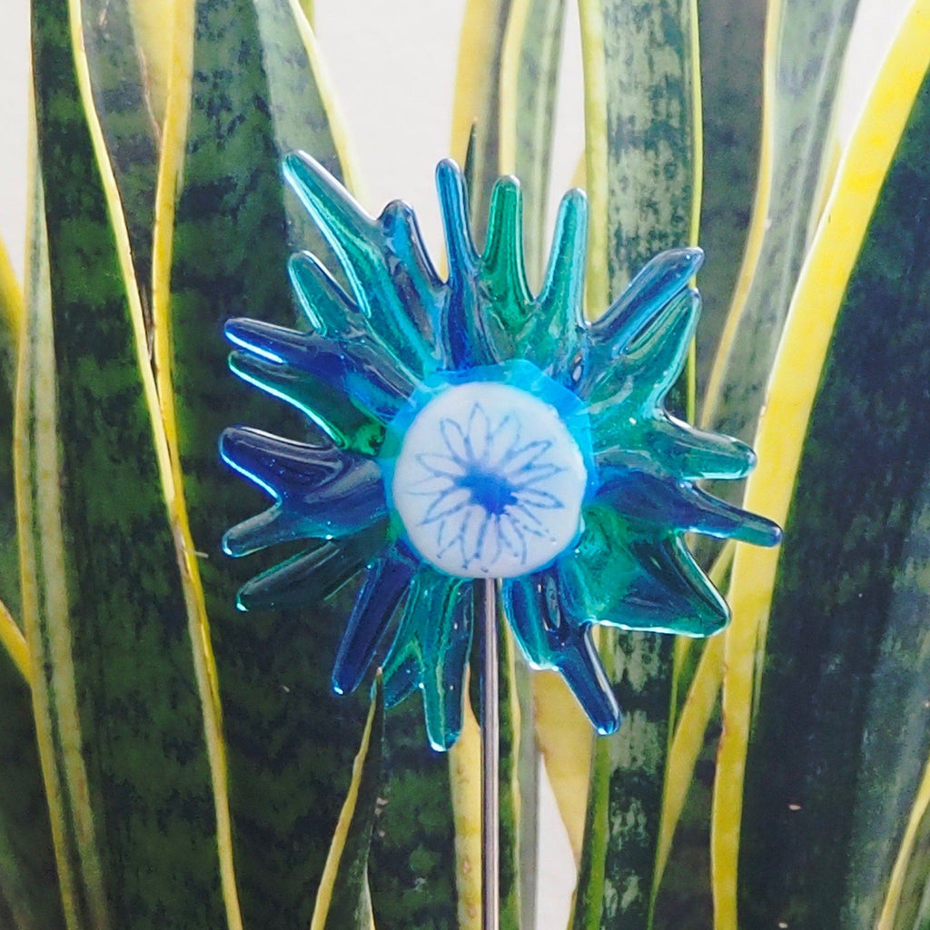 Blue, turquoise and white flower stake - Fired Creations