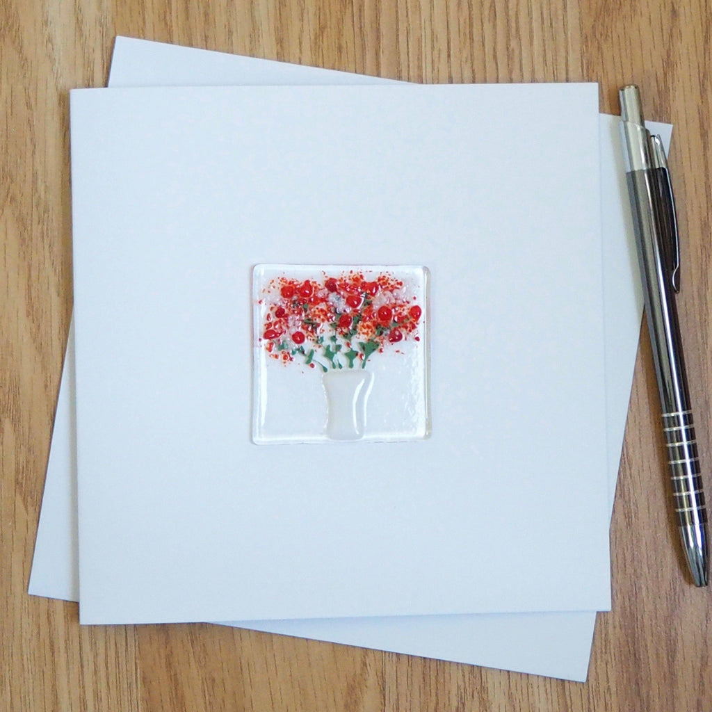 Bunch Of Red Flowers Fused Glass Greetings Card