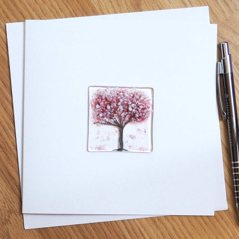 Cherry Blossom Tree Fused Glass Greetings Card