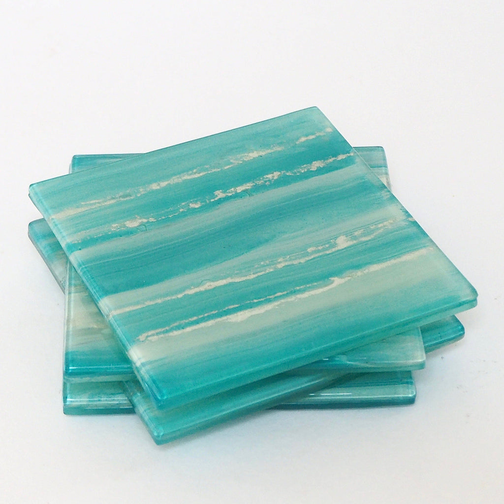 Aqua and silver fused glass drinks coasters - set of 4 - Fired Creations