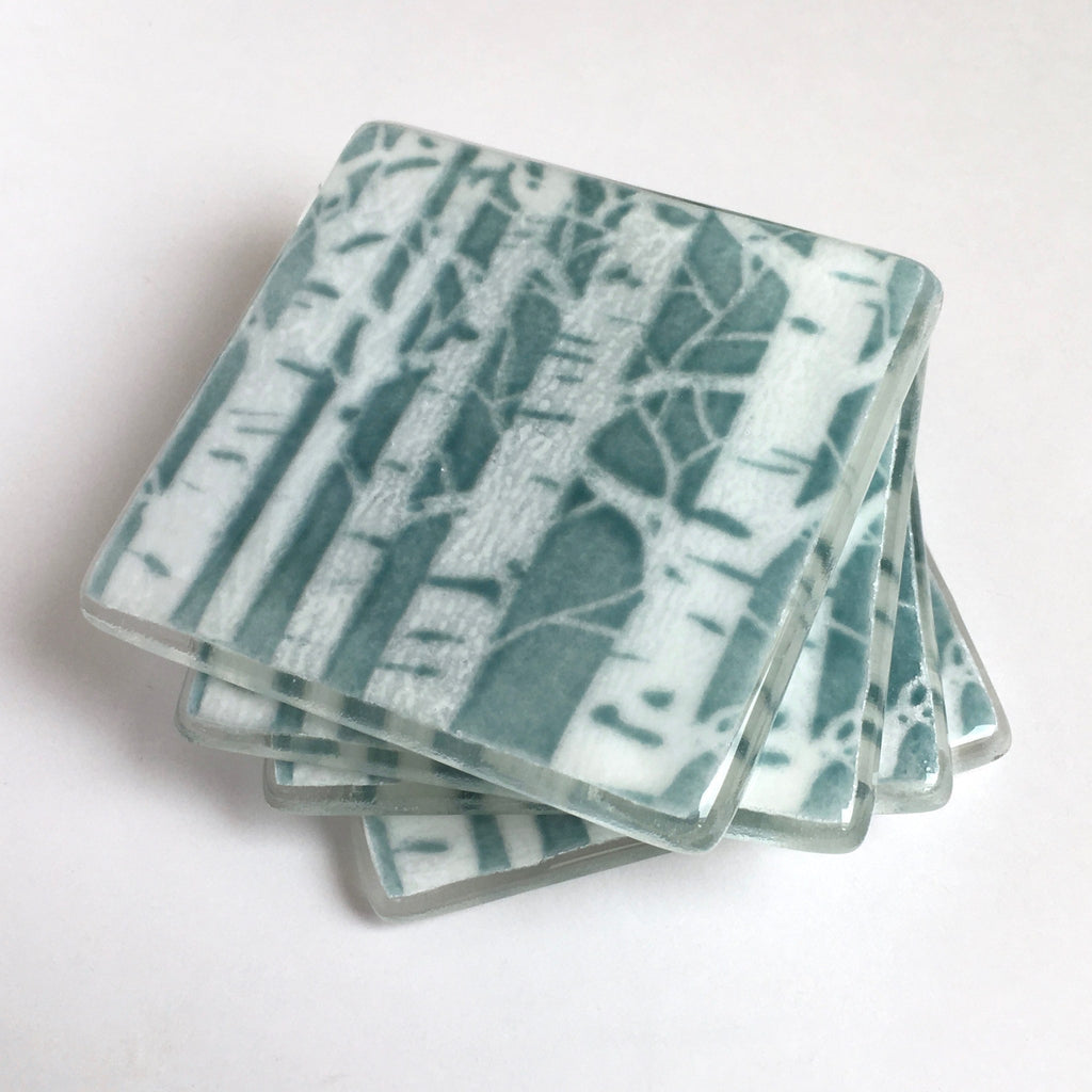 Aquamarine poplar trees fused glass drinks coasters - Fired Creations